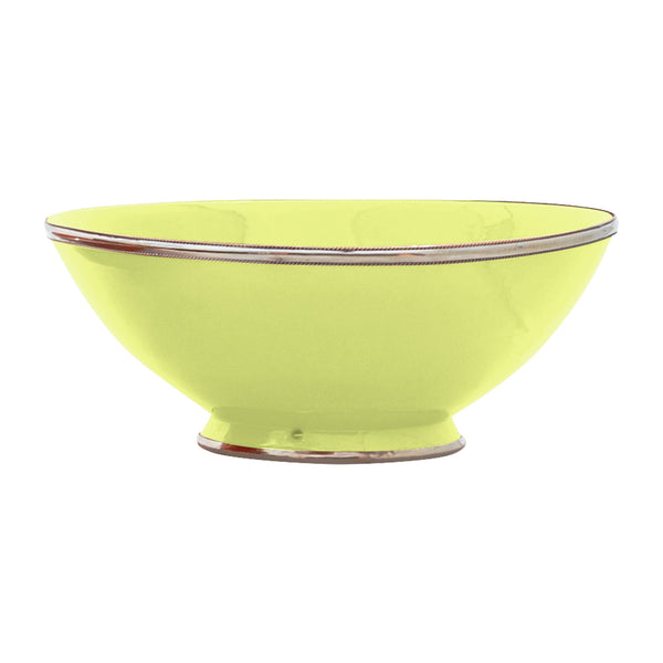 Ceramic Bowl w. Silver Trim, D30 cm, Lime