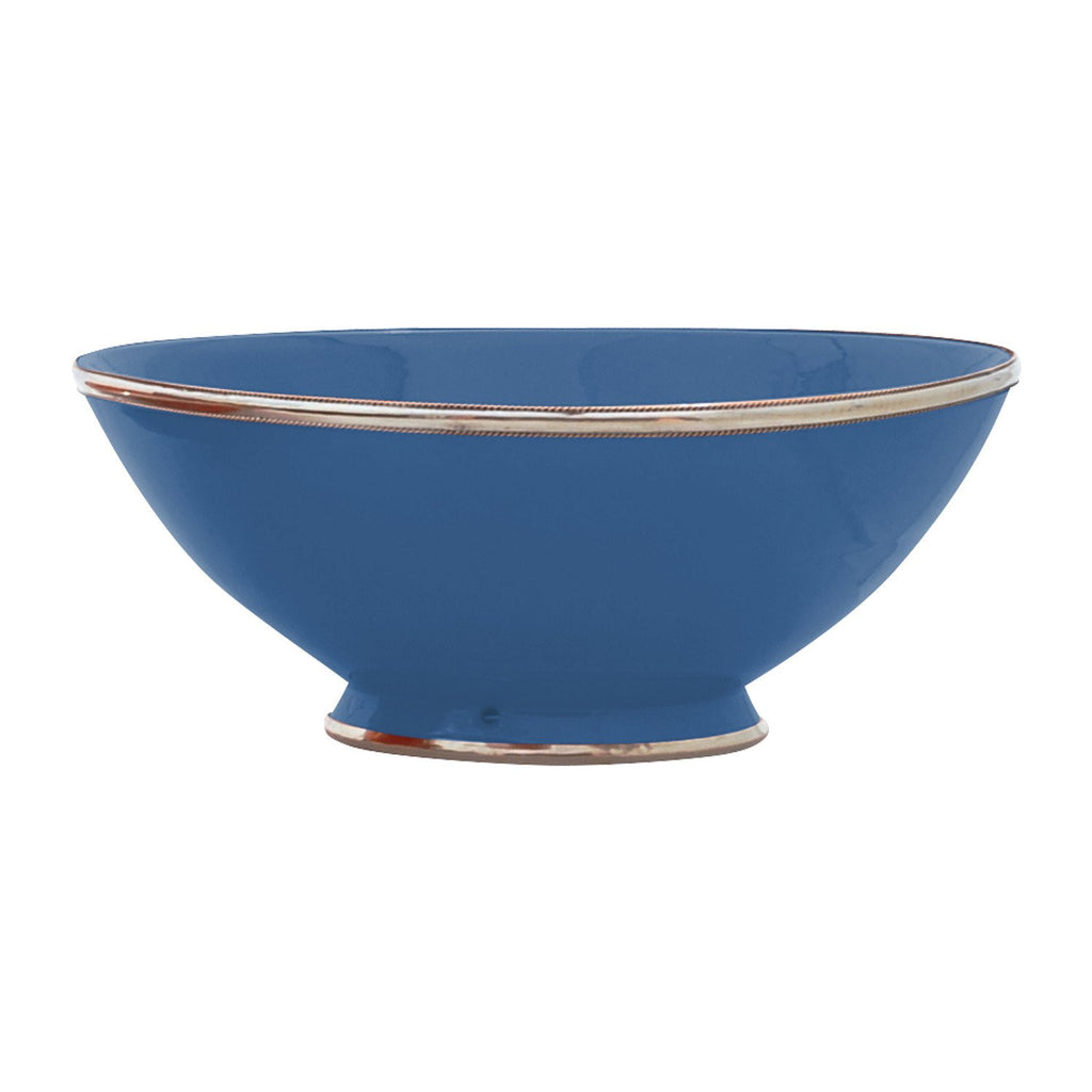 Ceramic Bowl w. Silver Trim, D30 cm, Night Blue
