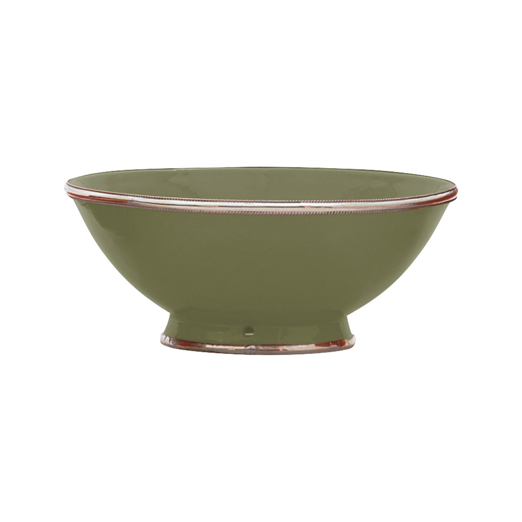 Ceramic Bowl w. Silver Trim, D25 cm, Olive Green