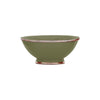 Ceramic Bowl w. Silver Trim, D20 cm, Olive Green