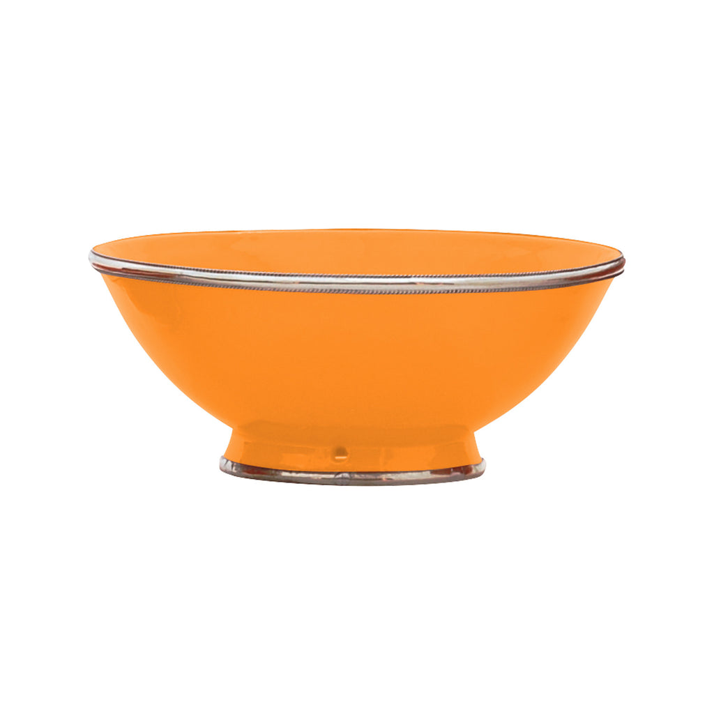 Ceramic Bowl w. Silver Trim, D25 cm, Orange