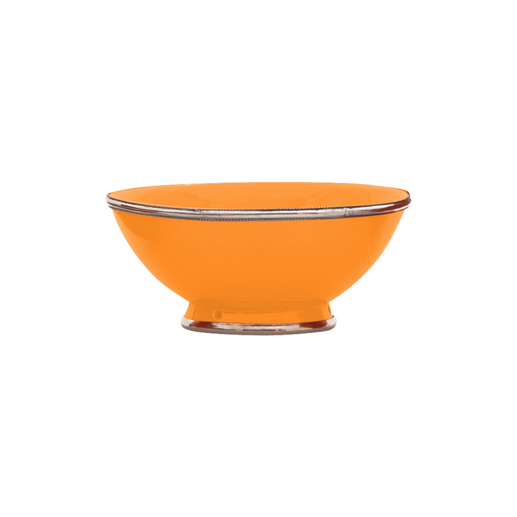Ceramic Bowl w. Silver Trim, D20 cm, Orange