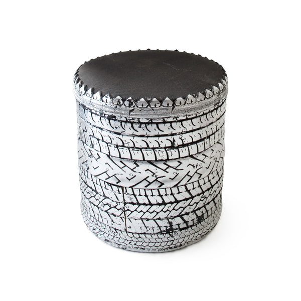 Rubber Stool R1, Silver