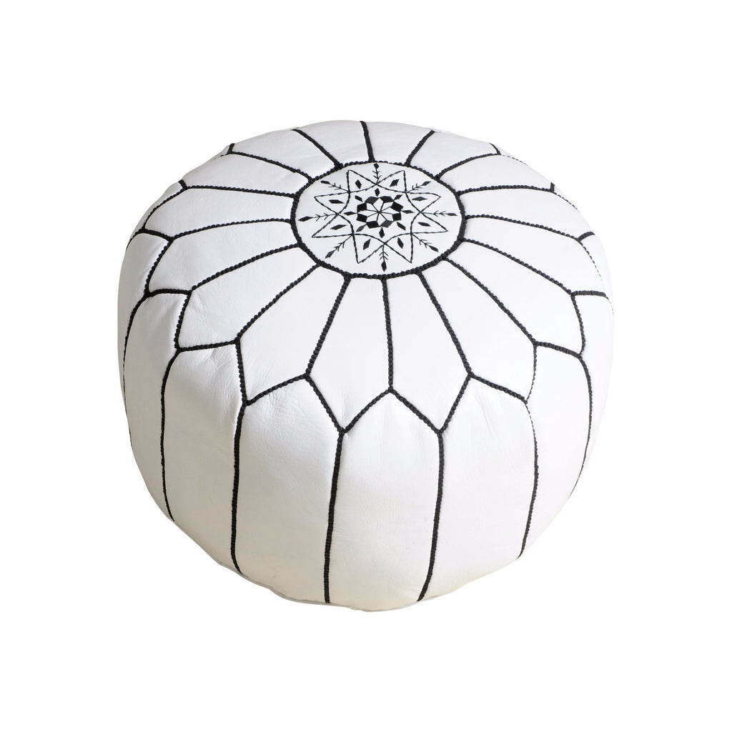 Leather Pouf Tassira S, White w. Black seams
