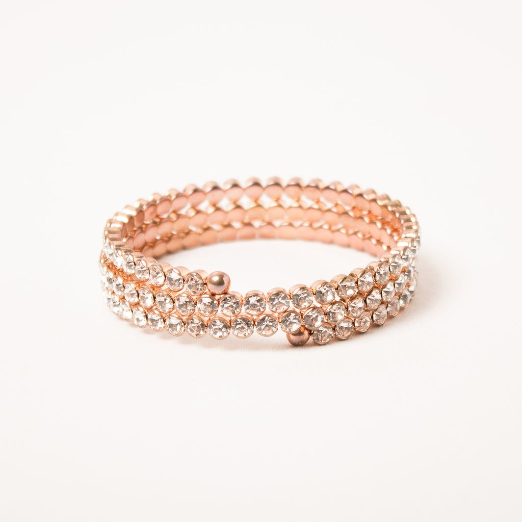 3 Row Flex Coil Bangle Clear/Rose Gold
