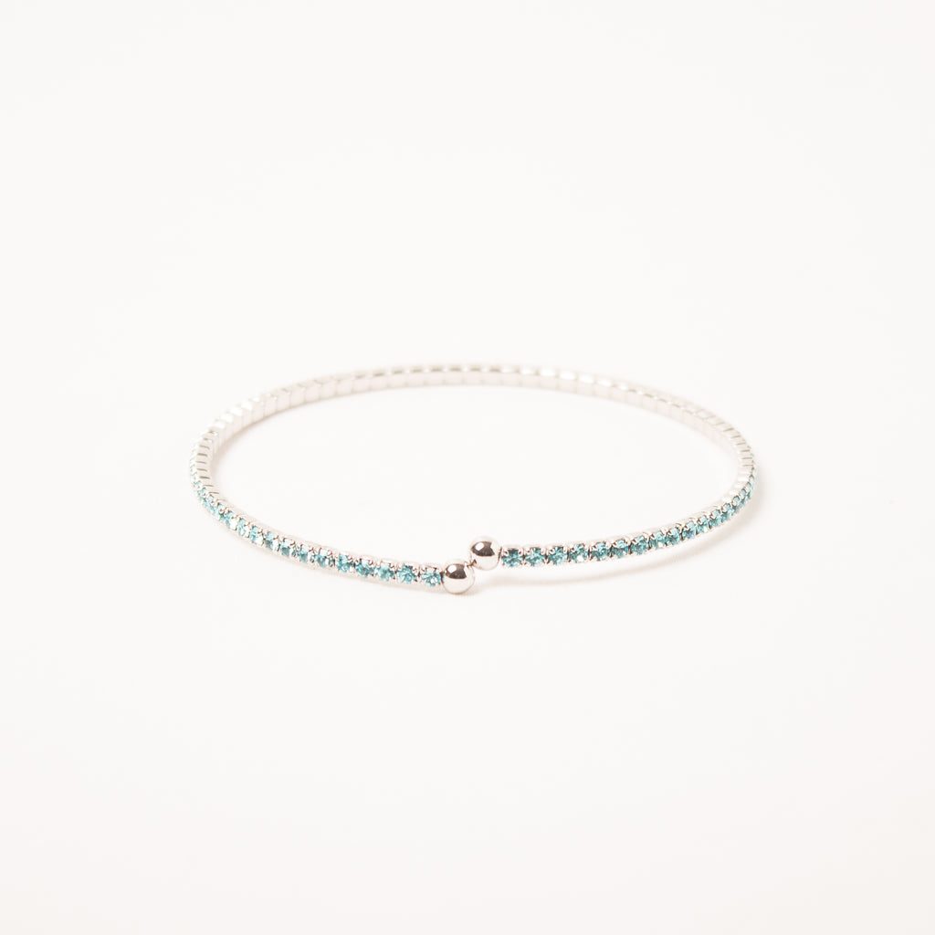Dainty Thin Crystal Bangle Aqua