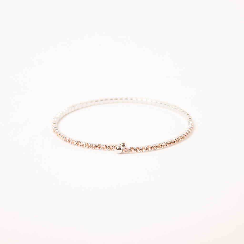 Dainty Thin Crystal Bangle Light Peach On Silver