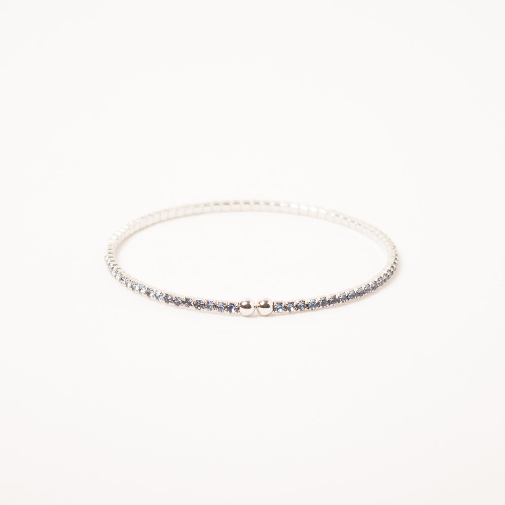 Dainty Thin Crystal Bangle Light Saphire
