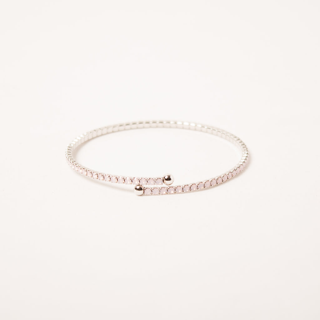 Dainty Thin Crystal Bangle Pink Opal