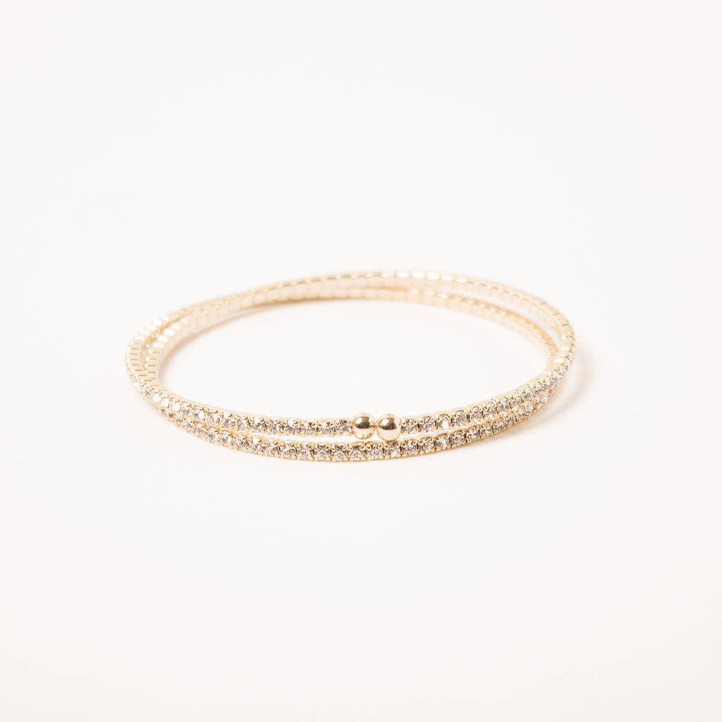 2 Row Dainty Thin Crystal Wraparound Gold