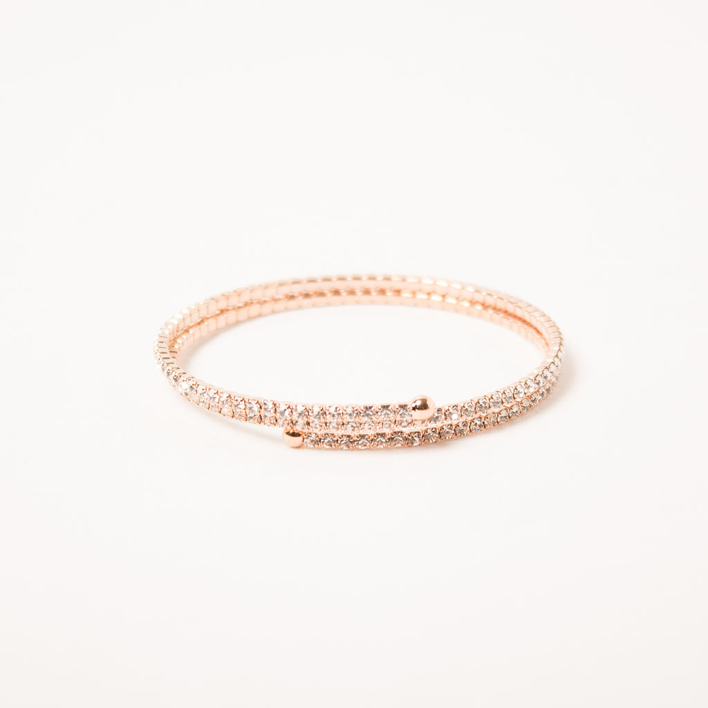 2 Row Dainty Thin Crystal Wraparound Rose Gold