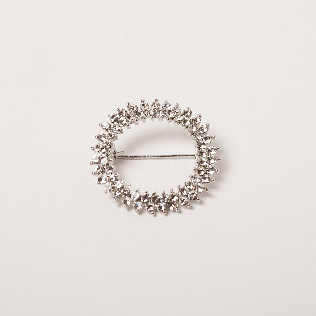 Small Round Crystal Brooch