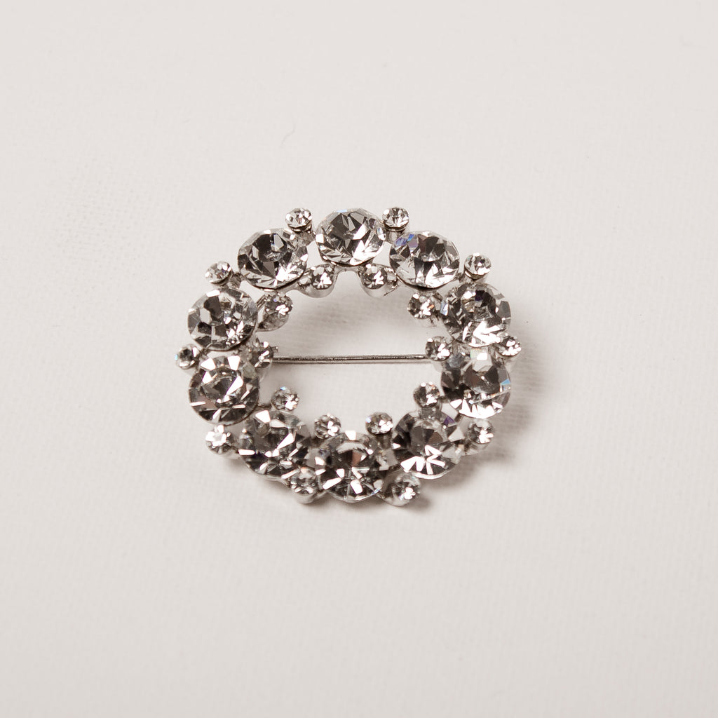 Round Large Crystal Brooch