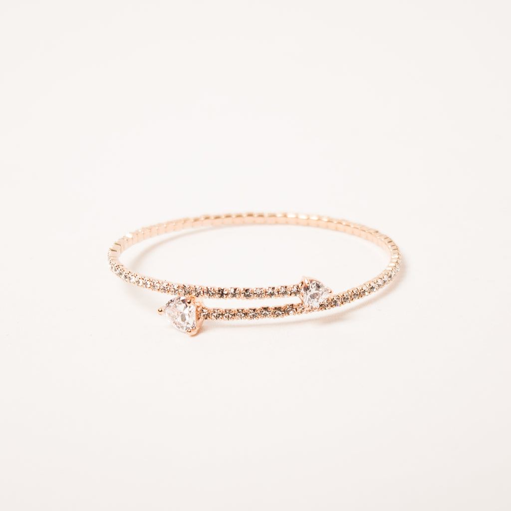 Double Heart Crystal Bangle Clear/Rose Gold