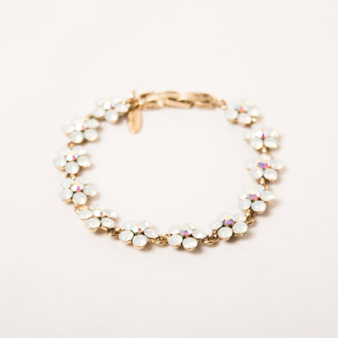 Daisy Flower Bracelet Opal/Ab On Antique Gold
