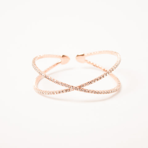 Criss Cross Bangle Clear/Rose Gold