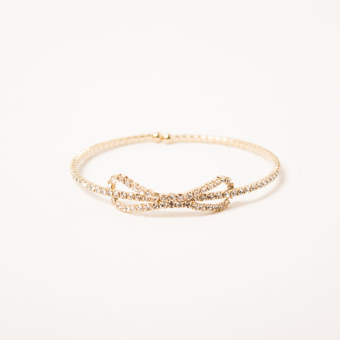 Crystal Bow Bangle Clear/Gold