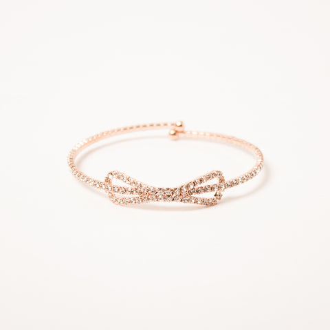 Crystal Bow Bangle Clear/Rose Gold