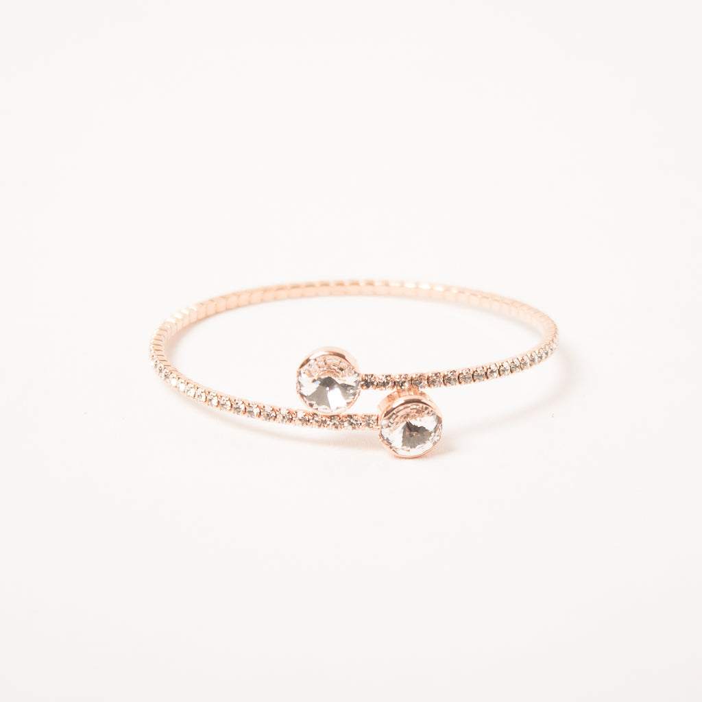 Overlap Crystal Bangle Clear/Rose Gold