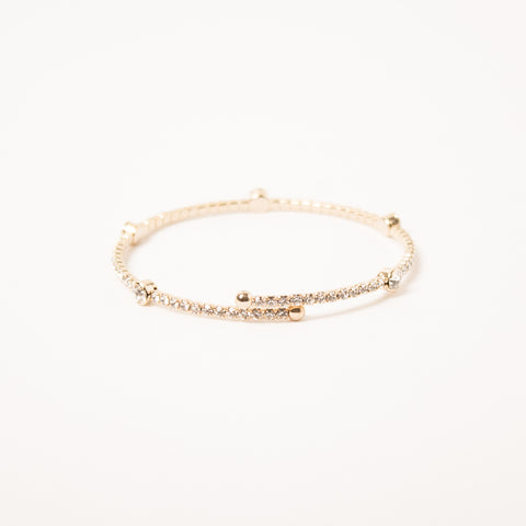 Crystal Bangle With Medium Scatter Crystals Clear/Gold