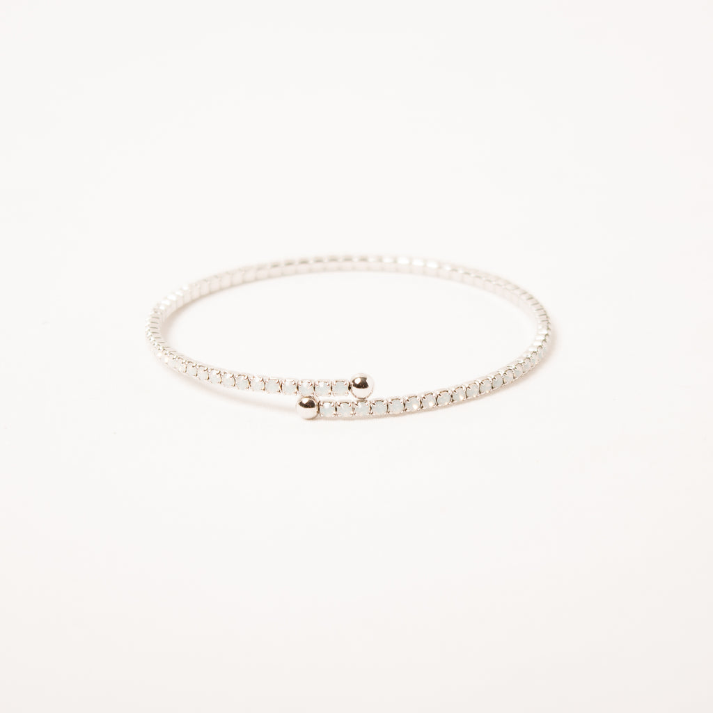 Crystal Bangle With Medium Scatter Crystals White Opal
