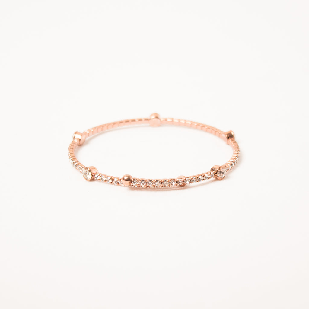 Crystal Bangle With Medium Scatter Crystals Clear/Rose Gold