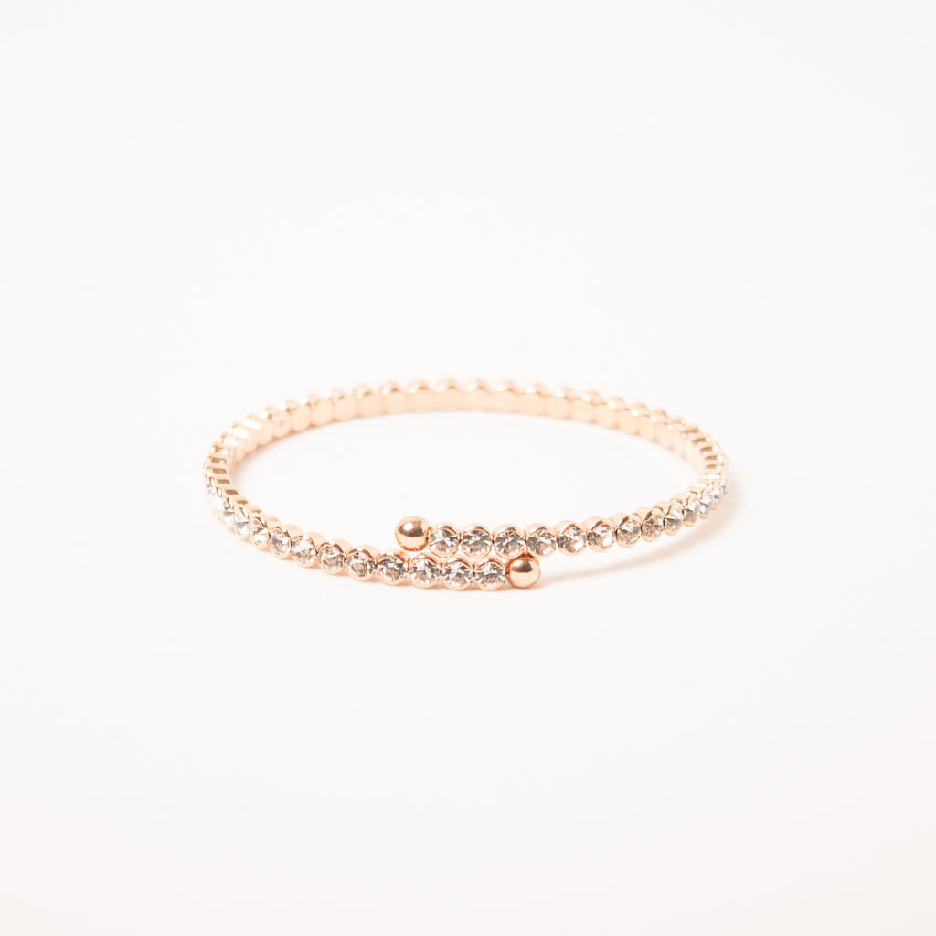 Small Crystal Flexi Bangle Clear/Rose Gold