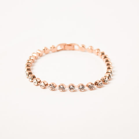 Dainty Tennis Bracelet Clear/Rose Gold