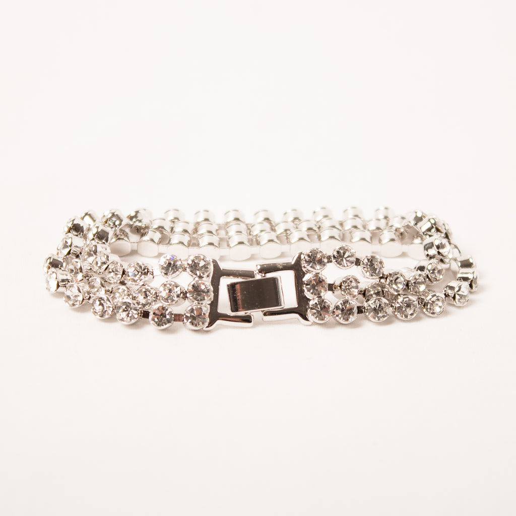 3 Row Tennis Bracelet Clear