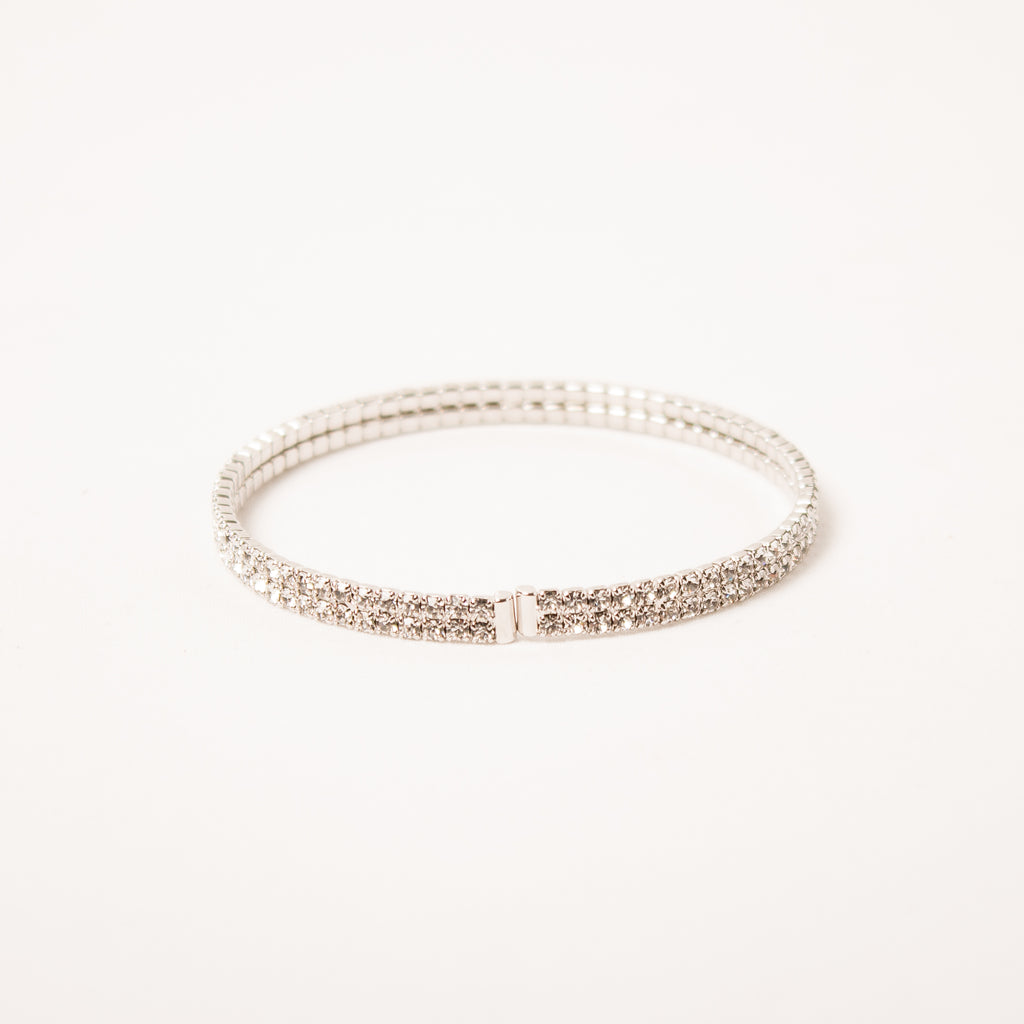 2 Row Pave Cuff Clear
