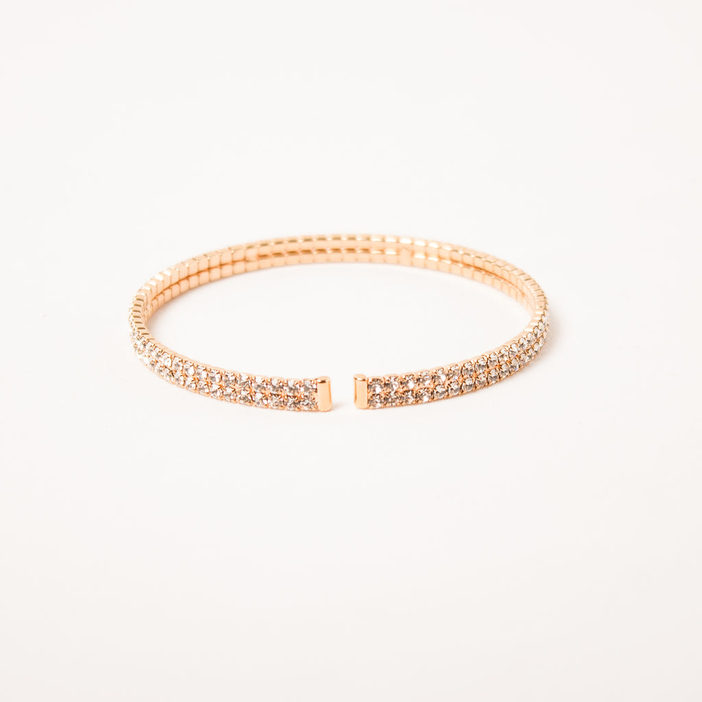 2 Row Pave Cuff Clear/Rose Gold