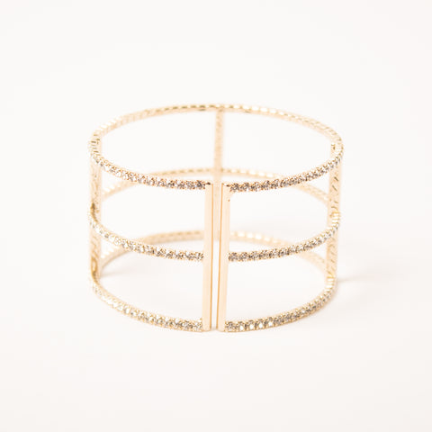 3 Row T Bangle Clear/Gold