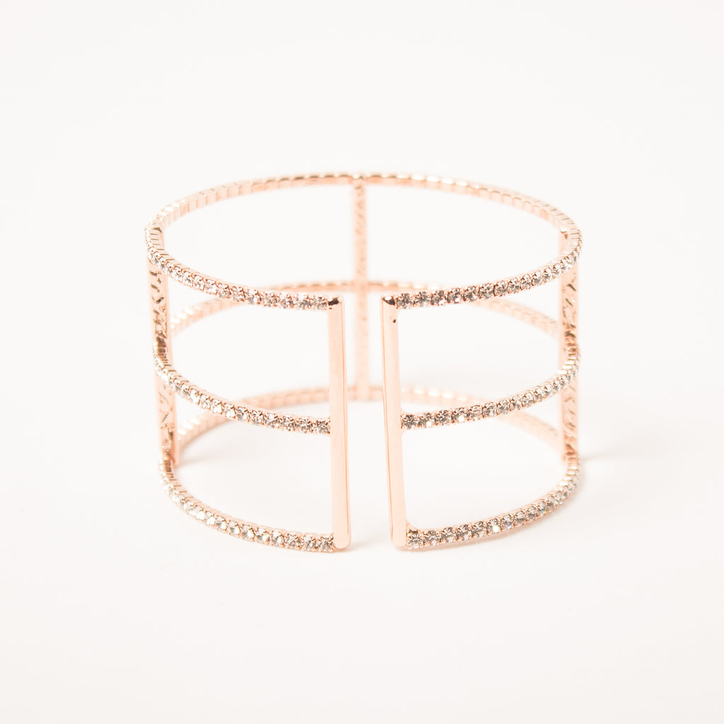 3 Row T Bangle Clear/Rose Gold