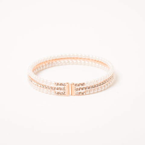 3 Row Cuff Pearl/Crsytal/Pearl Cuff Clear/Rose Gold