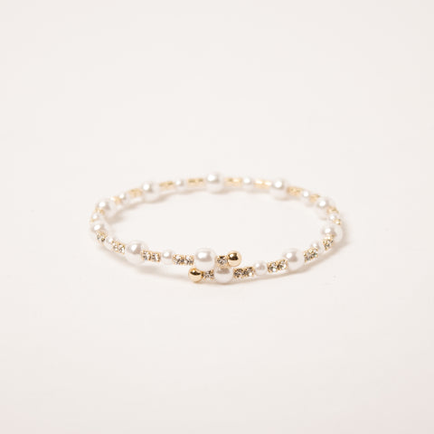 Single Row Pearl Crystal Clear/Gold