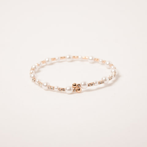 Single Row Pearl Crystal Clear/Rose Gold