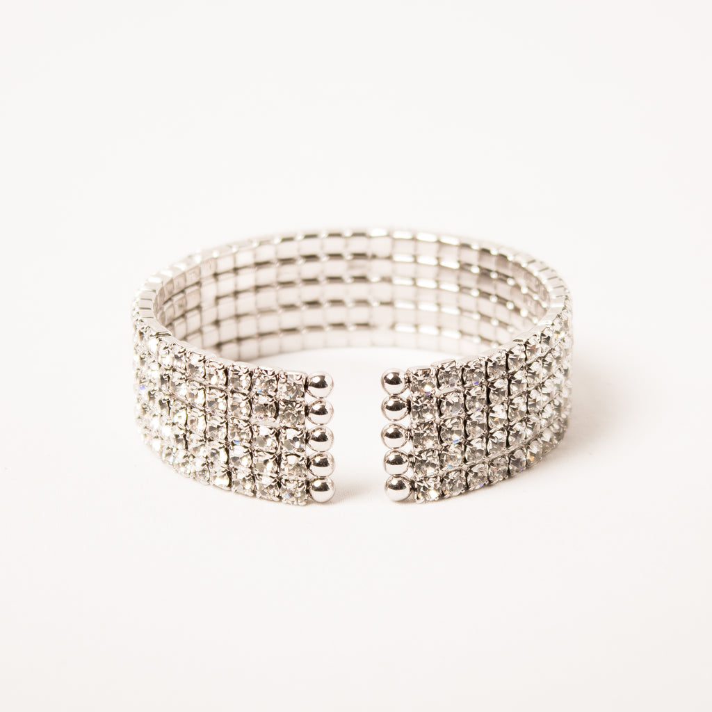 5 Row Pave Cuff Clear