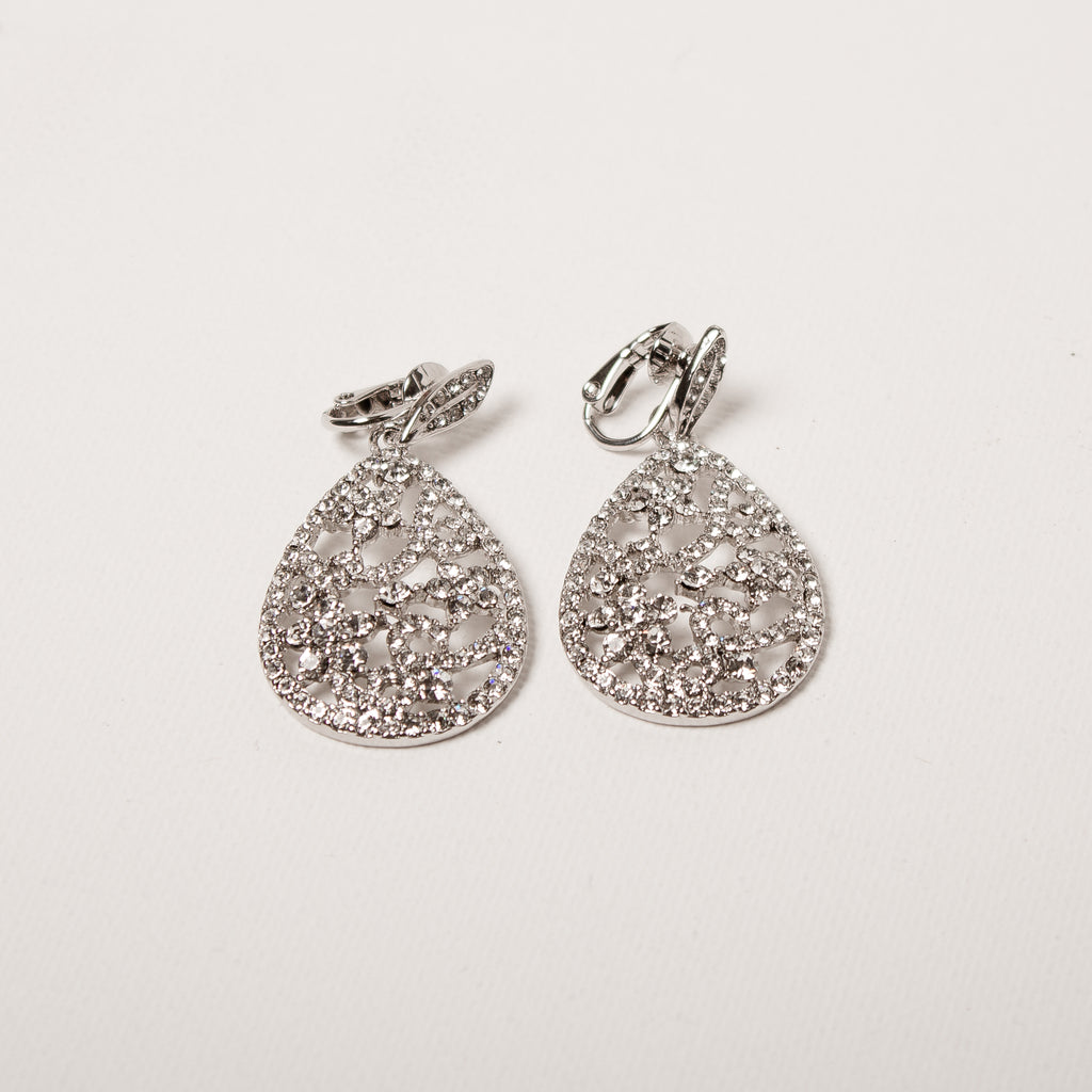 Filligree Patterned Teardrop Earrings Clear