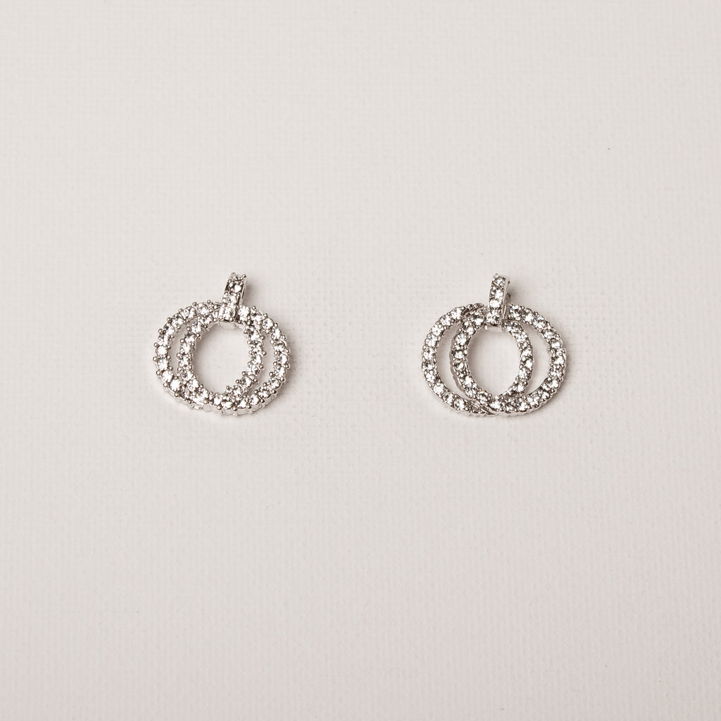 Double Circle Entwined Earrings Clear Crystal
