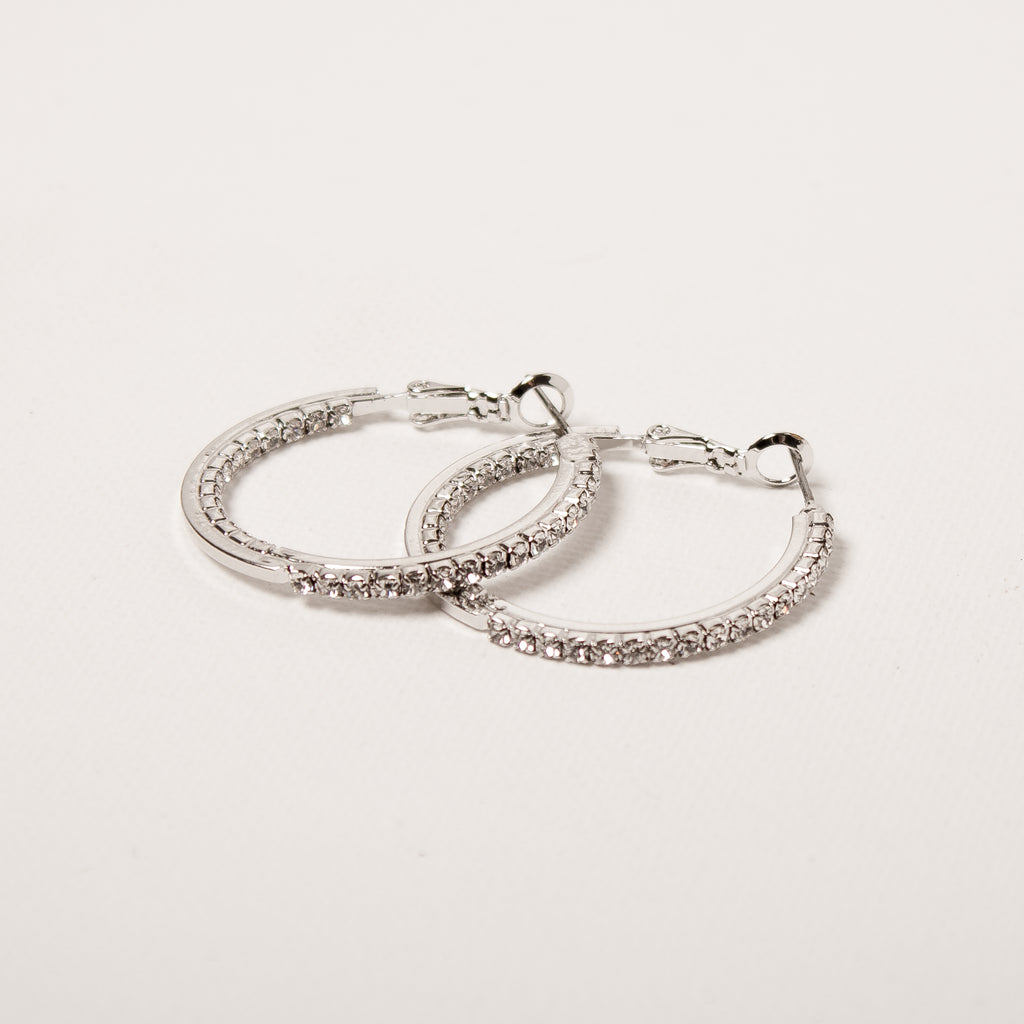 Medium Crystal Hoop Earrings Clear