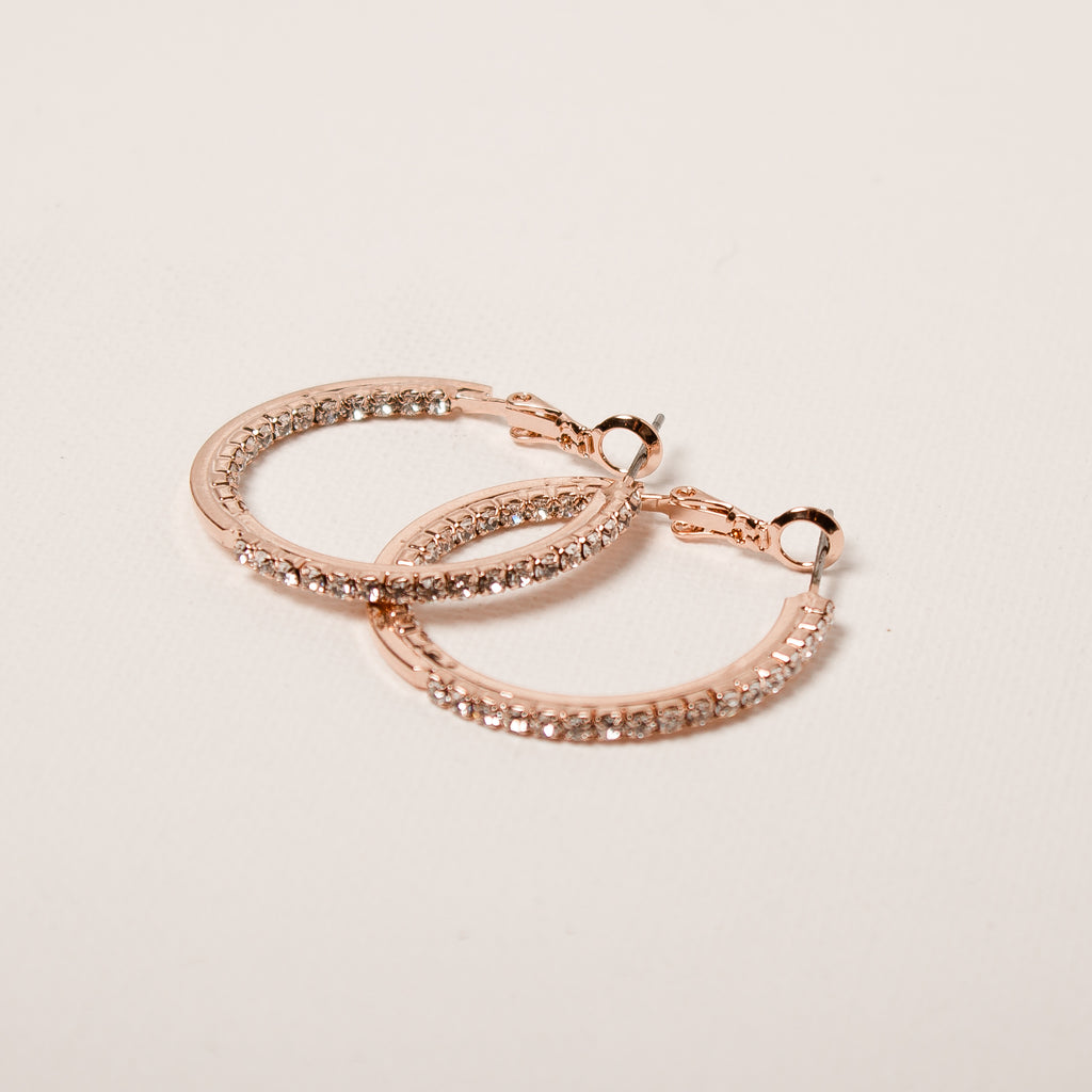 Large Crystal Hoop Earrings Rose Gold