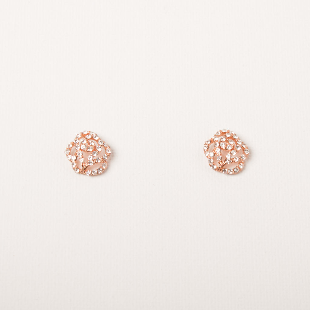 Delicate Rose Earrings Rose Gold