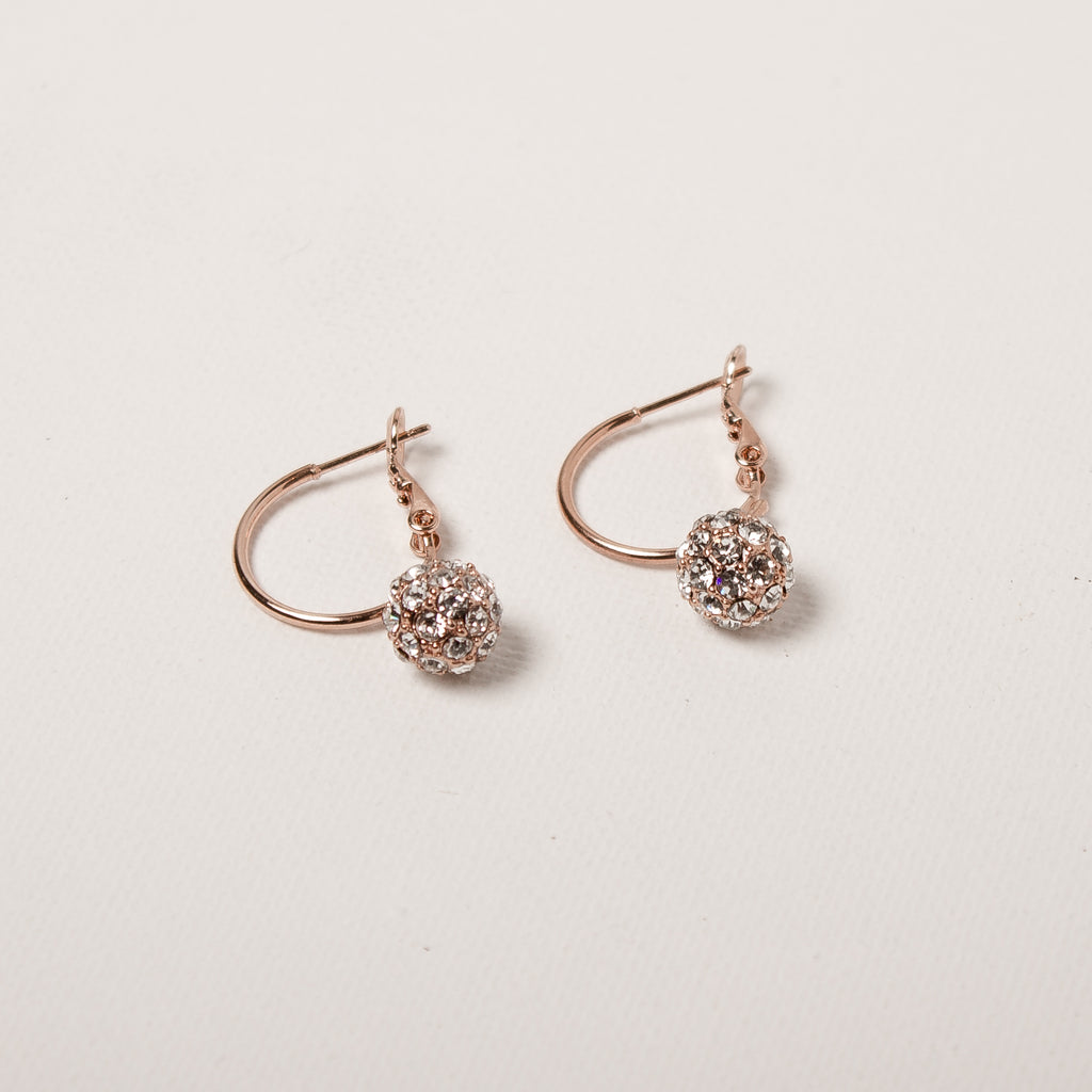 Ball Drop On Hoop Earrings Rose Gold