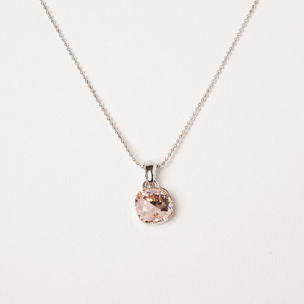 Square Cut Single Crystal Necklace Vintage Rose