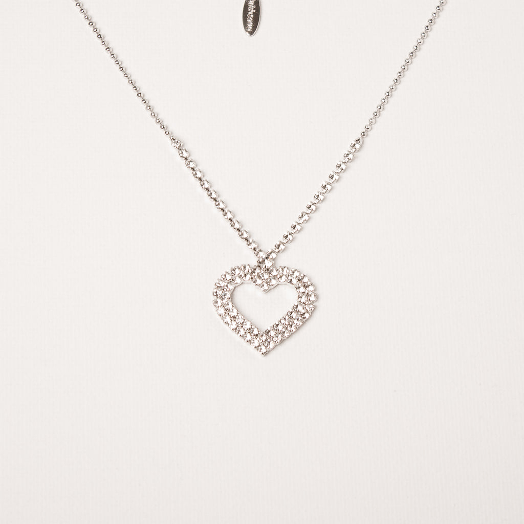 Crystal Pave Encrusted Heart Necklace
