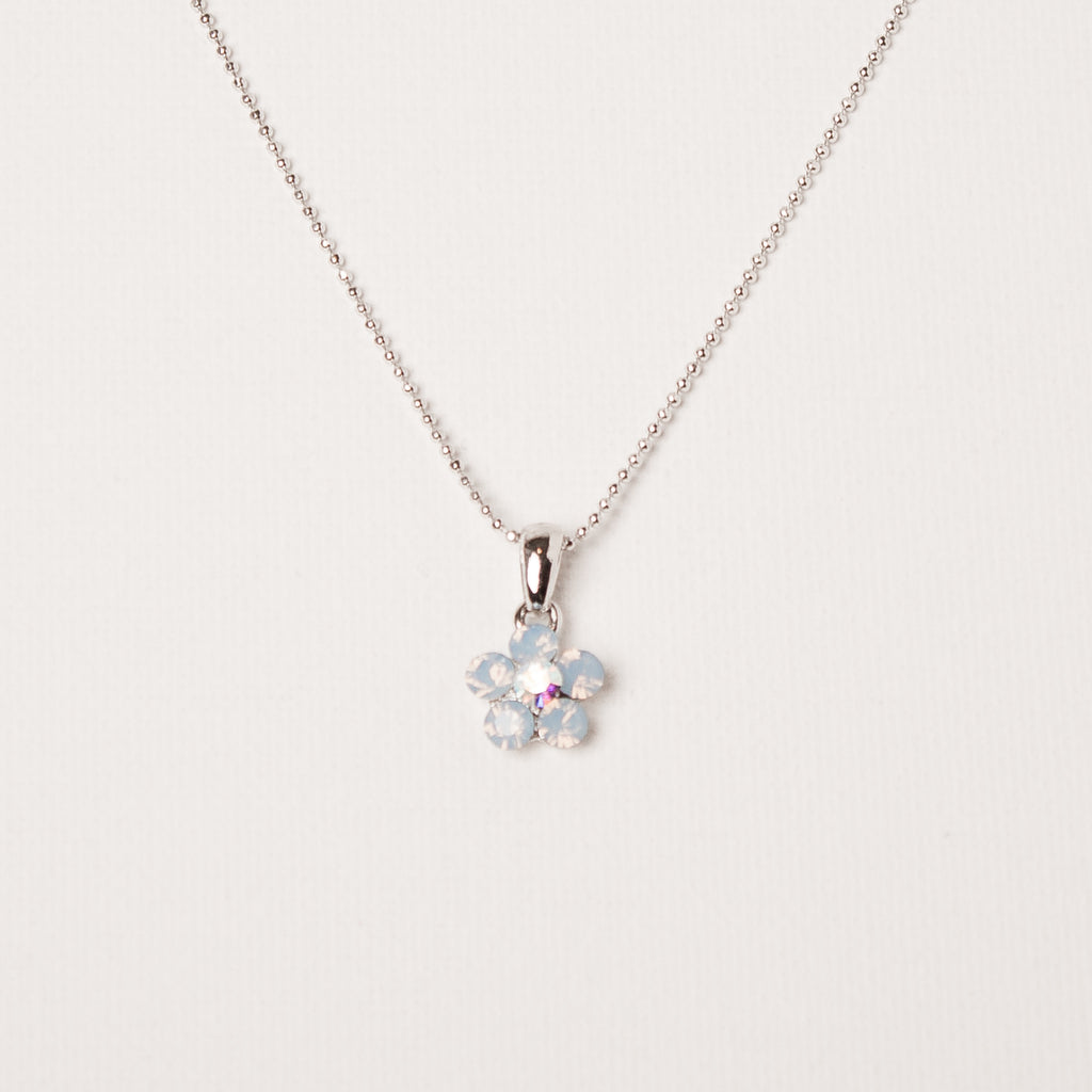 Daisy Flower Necklace Blue Opal