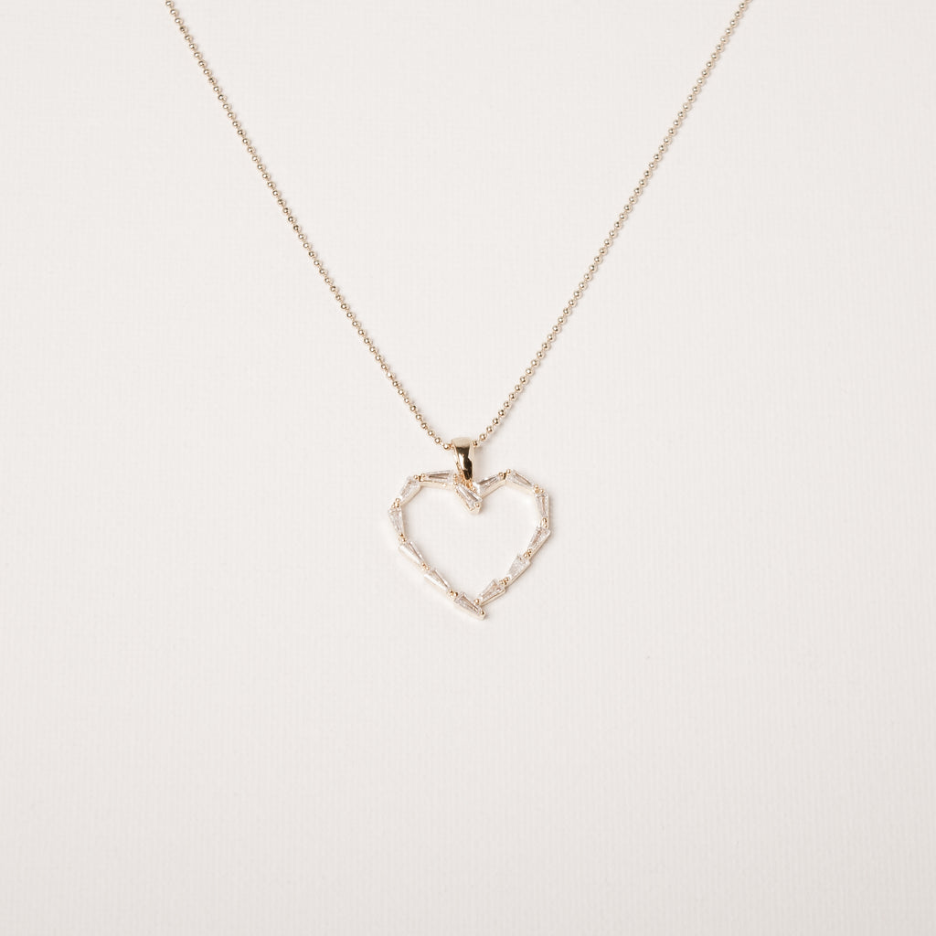 Baguette Cut Cz Heart Necklace Gold