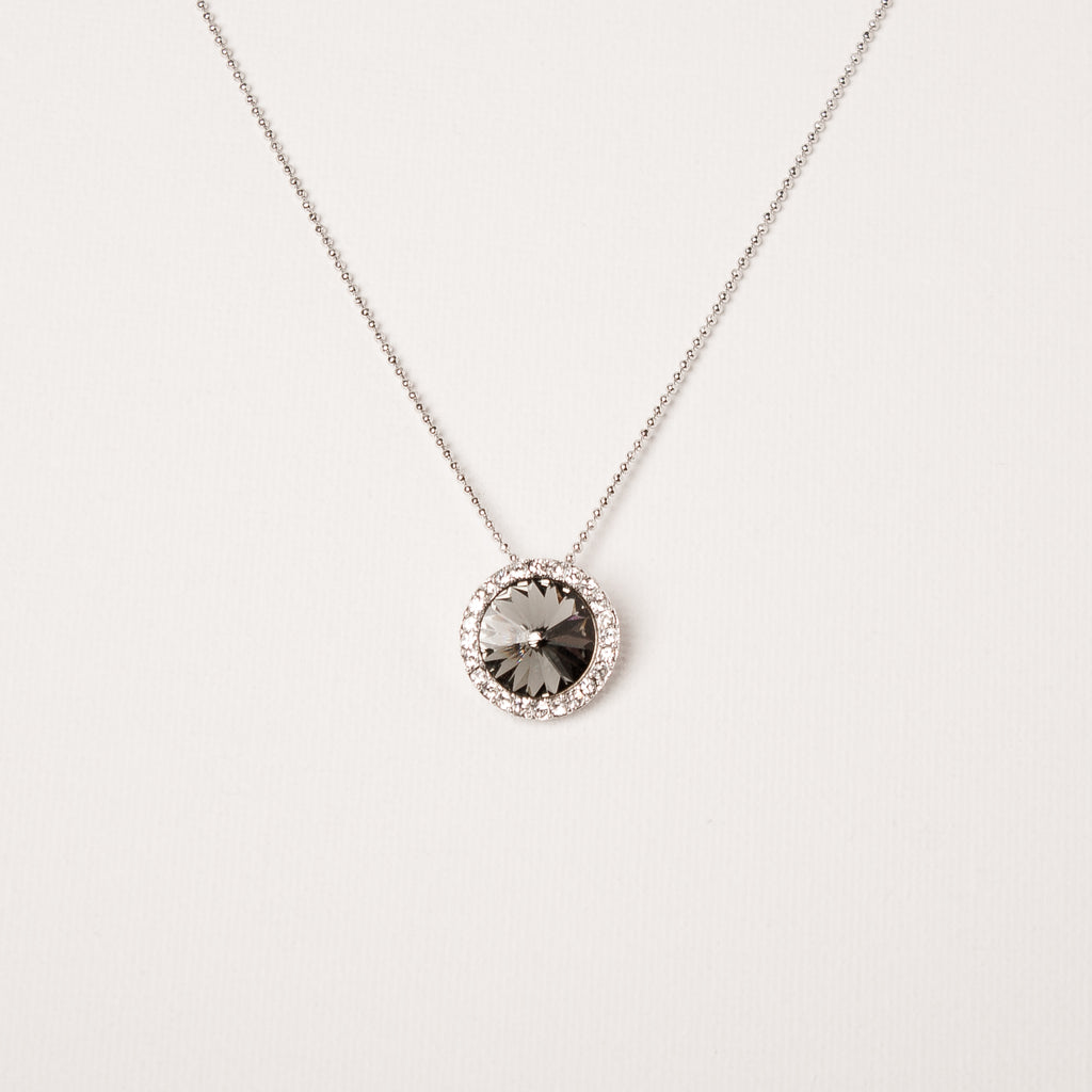 Sunflower Crystal Necklace Black Diamond