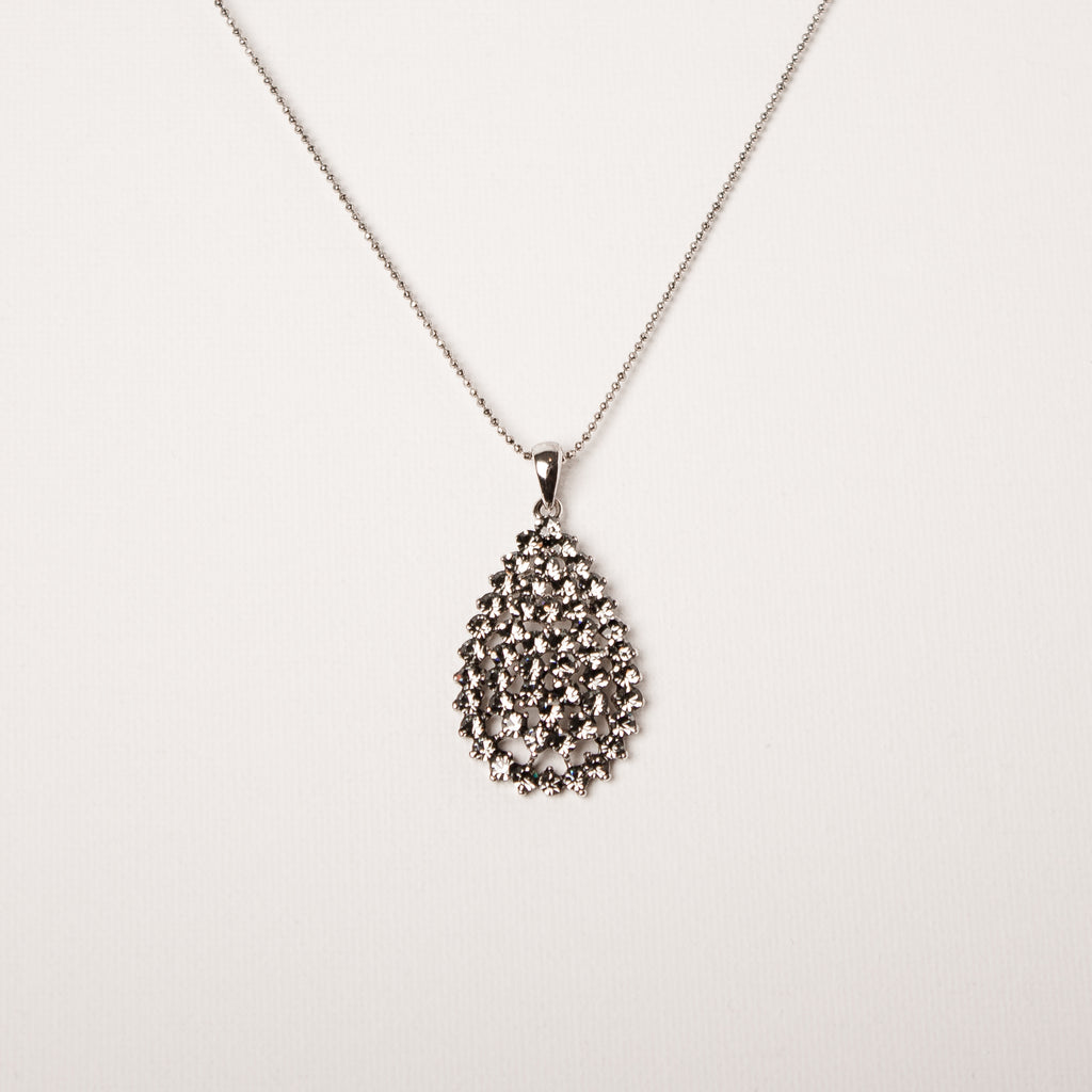 Ornate Cluster Large Teardrop Pendant Black Diamond