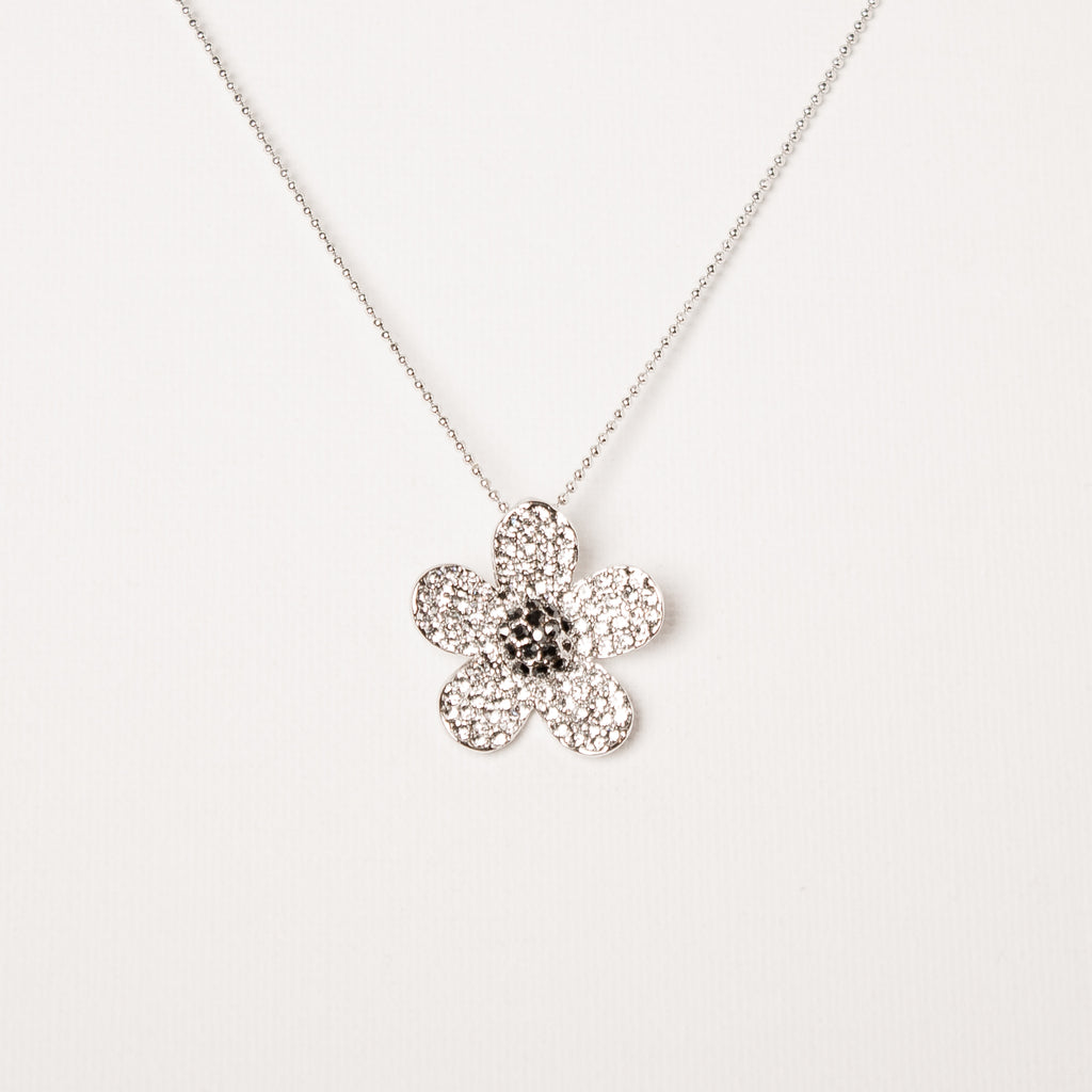 Large Cluster Daisy Flower Necklace Clear/Black Diamond